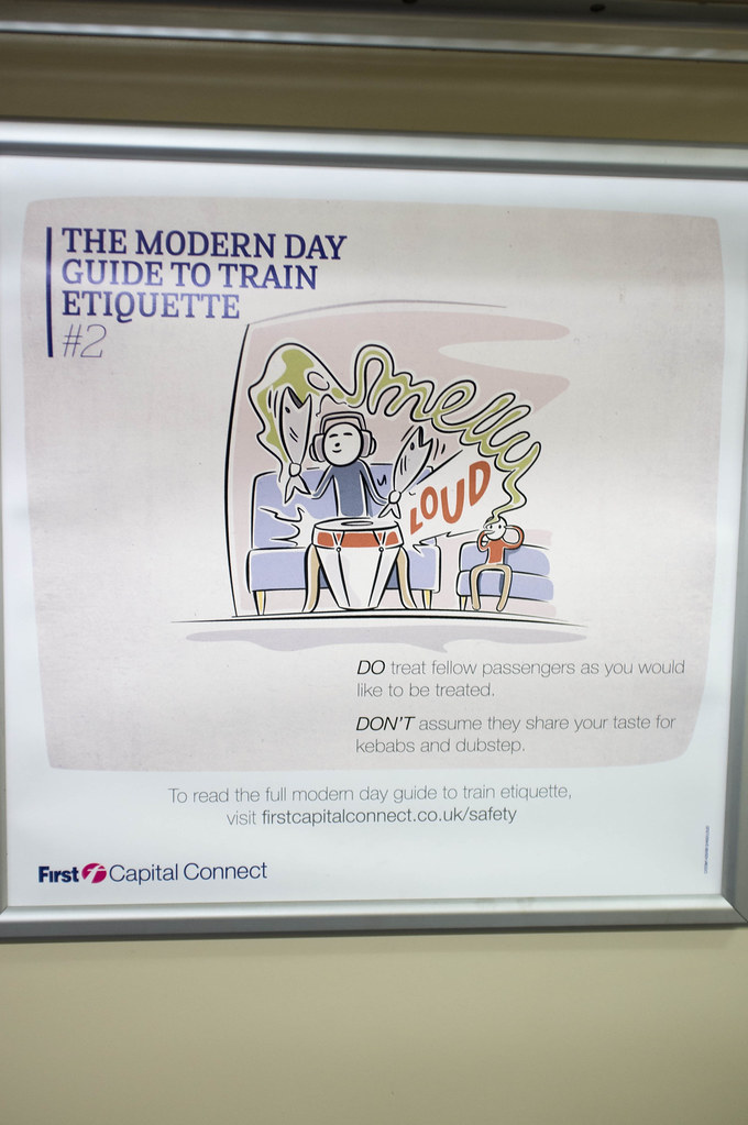 Modern Day Guide to Train Etiquette #2 | Text on the poster