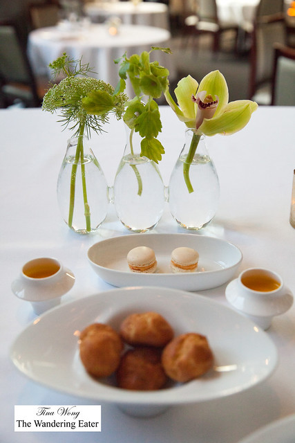 Amuse bouches - Pimento cheese macarons, shots of sweet potato soup, gougeres