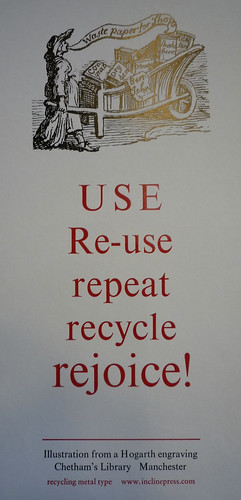 USE, Re-use, repeat, recycle, rejoice! via the Incline Press at Chetham's Library | by dullhunk