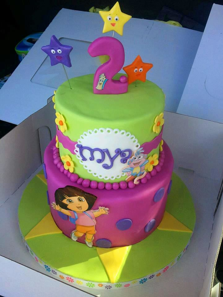 Super Dora The Explorer 2 Birthday Cake Frosted With Emotion Flickr Funny Birthday Cards Online Alyptdamsfinfo