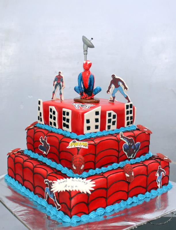 Swell Spiderman Cartoon 3 Tier Birthday Cake Order Cakes At Ease Flickr Personalised Birthday Cards Paralily Jamesorg