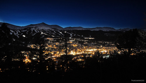county city sky snow mountains silhouette night lights colorado summit breckenridge