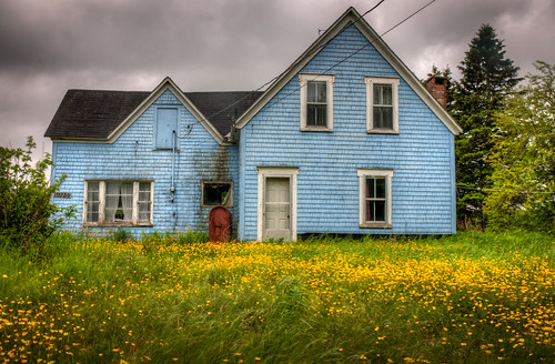 blue house canada abandoned yellow clouds novascotia capebreton hdr ruraldecay riverdenys