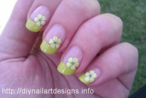 easy diy nail art designs lime green french tip with flow