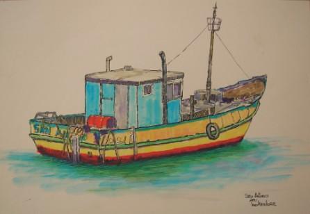Barco Pesquero San Antonio Dibujo Pintor Leo Mendoza Www