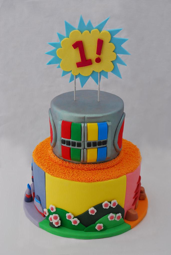 Marvelous Yo Gabba Gabba Fondant 1St Birthday Cake A Yo Gabba Gabba Flickr Funny Birthday Cards Online Elaedamsfinfo
