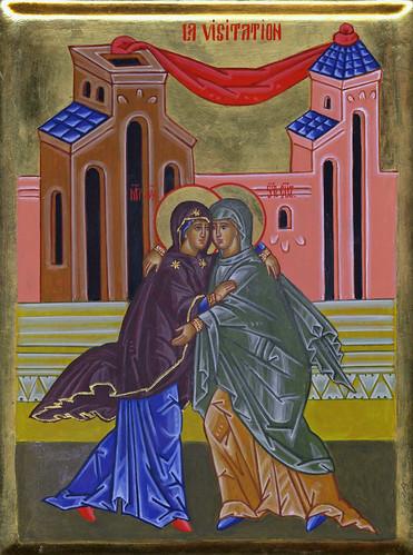 2010 - Icône de la Visitation (Fête) / Visitation Icon (Feast) (main de / hand of : soeur Jeannine Lebrun, rhsj)   by Périchorèse-iconographie