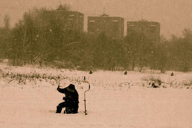 The Pekhorka River in winter