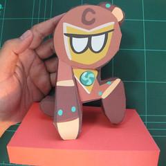 วิธีทำโมเดลกระดาษตุ้กตาคุกกี้รัน คุกกี้รสฮีโร่ (LINE Cookie Run Hero Cookie Papercraft Model) 029