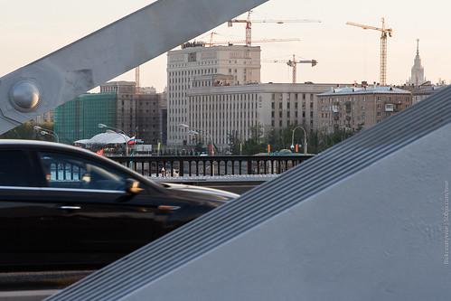 street city bridge sunset urban sunlight daylight spring iron traffic russia moscow krymskybridge