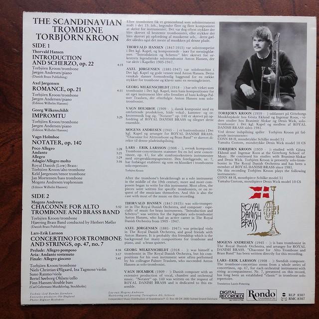 Backside Hansen, Jorgensen, Wilkenschildt, Holmboe, Andresen, Larsson - The Scandinavian Trombone - Torbjorn Kroon Trombone, Royal Danish Brass, Rondo RLP 8307, Half Speed Mastering, Digital