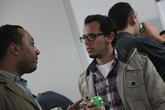 Entrepreneurs chatting in break