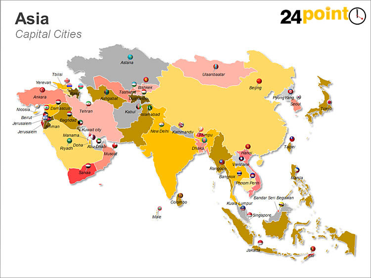 Map Of Asia With Capital Cities.Asian Continent Map This Map Shows The Capitals Of The Cou Flickr