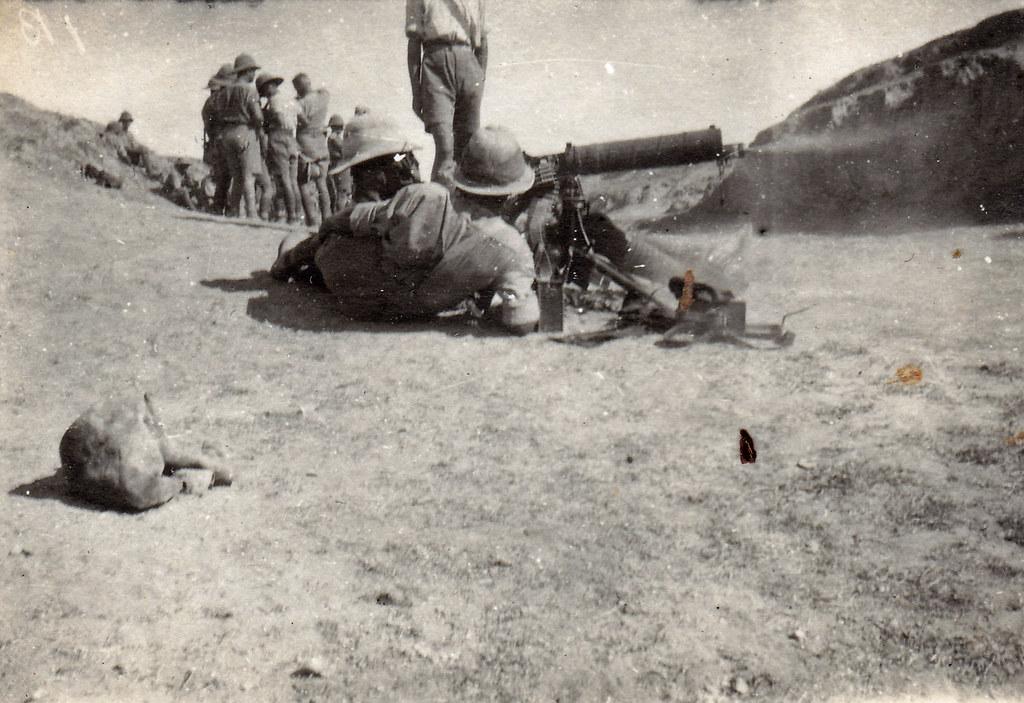 Machine gun practice  British soldiers  Machine gun corps