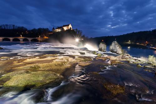 longexposure blue fall water night schweiz switzerland waterfall nikon wasser suisse wasserfall cloudy swiss schaffhausen explore hour schloss rhine rhein laufen rheinfall langzeitbelichtung d300 blaue neuhausen stunde myswitzerland