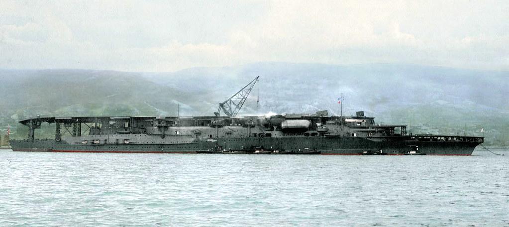 Colourised photo of The Japanese carrier Akagi, in her fir
