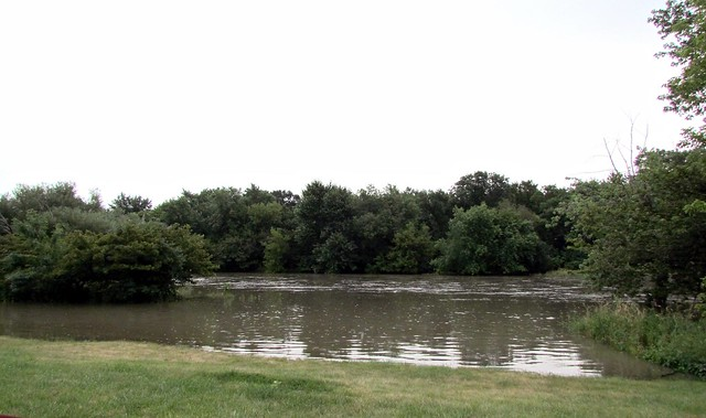 The Des Plaines River out of its banks