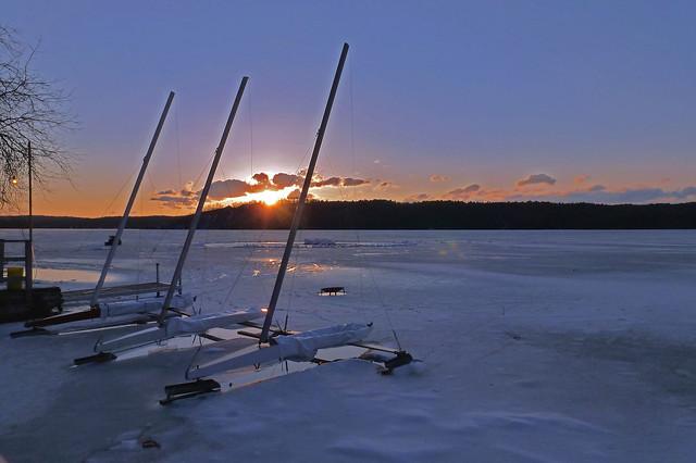 Ice Boats at Sunset on Lake Bomoseen, VT