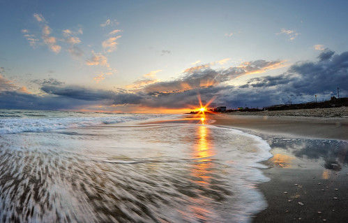 ocean sunset beach clouds landscape photography photographer northcarolina fisheye emeraldisle sunflare lowpov crystalcoast beachphotography rokinon8mm