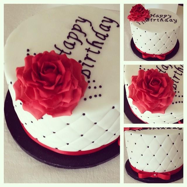Birthdays Cake White Black Red Rose Birthday Velvet