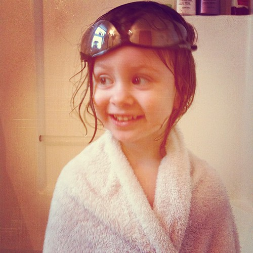 Wearing daddy's work glasses, not taking them off, even for a tubbie ☺ | by Timber Roland