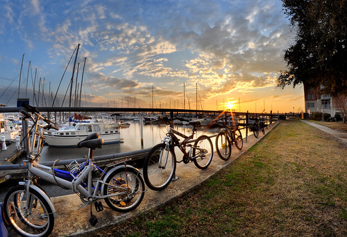 travel sunset sky clouds marina landscape boats photography nc nikon sailing photographer waterfront path northcarolina fisheye bicycles lensflare sailboats 8mm sunflare linedup easternnc leadinglines newbern exposureblending grandmarina
