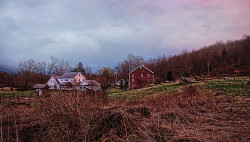 sunset field clouds farmhouse barn colorful vermont dusk dorset redbarn vt topaz benningtoncounty dorsetvermont topaz5 vermontdreams dorsetwestroad