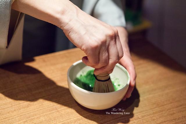 Vice President of Ippodo, Mrs. Watanabe, whisking the matcha tea