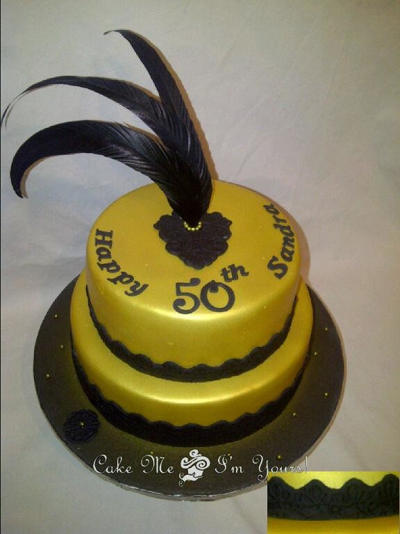 50th Birthday Cake Gold And Black Cake With Lace And Feath