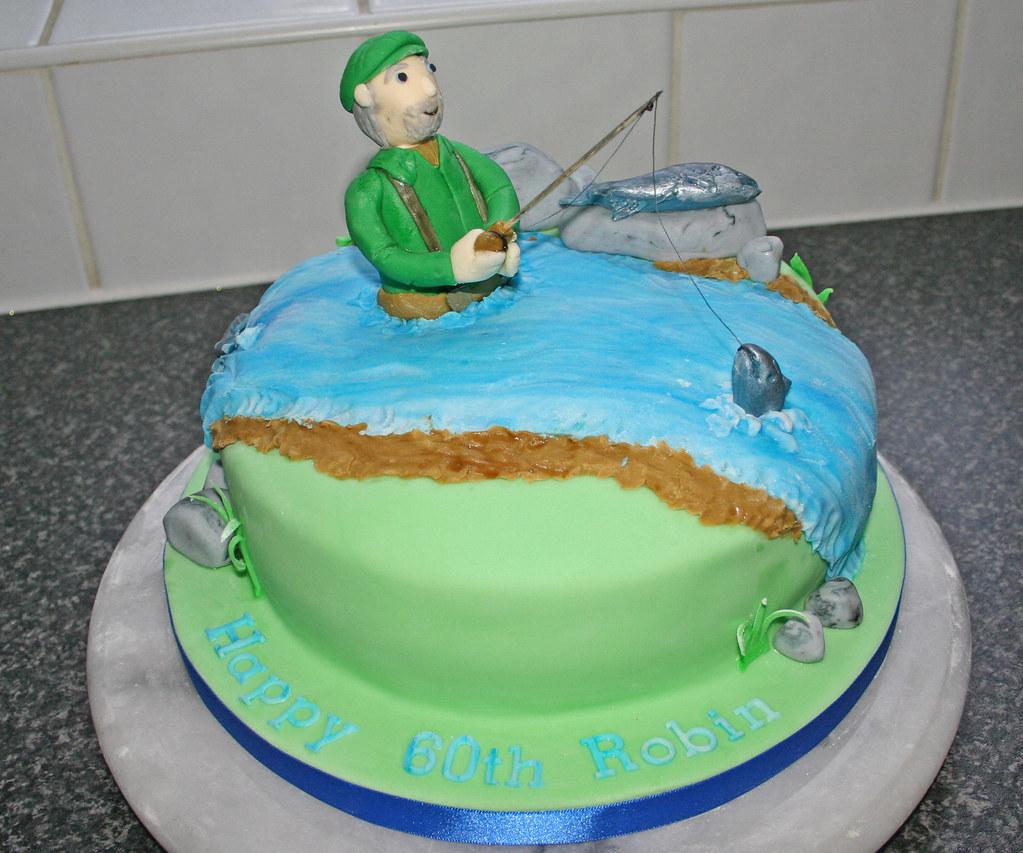 Enjoyable Salmon Fishing Birthday Cake Janet Whitehead Flickr Birthday Cards Printable Opercafe Filternl