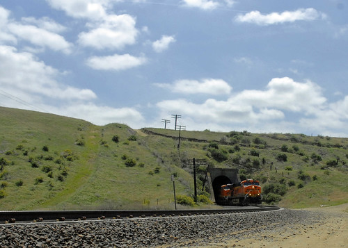 BNSF freight exits tunnel along Caliente Bodfish Rd in Kern County