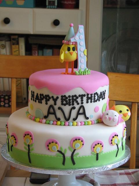 Chicky and Birdie Birthday Cake