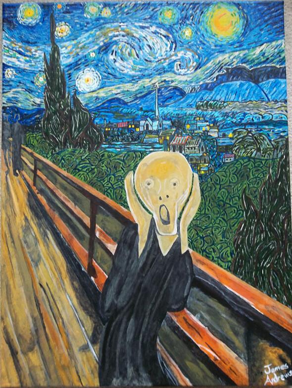 screaming melting man painting