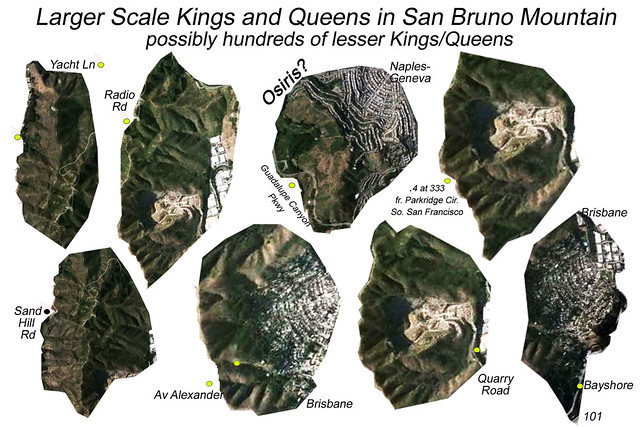San Bruno Mountain State Park, King and Queen figures detailed, with location identifiers, North at 2, view at 30,000 feet
