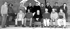 Sport & Community Centre 22.1.1987 .Installation of the stage by the Rotary Club of Gawler. Bob Walter standing LHS first. Lance Hatcher in back row 2nd from right.