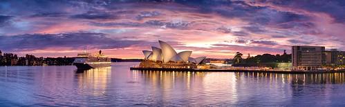 ocean city sky seascape reflection building water night clouds sunrise landscape nikon ship harbour wide sydney australia tourist panoramic nsw operahouse queenelizabeth2 qe2 d3x