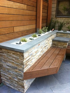 Ipe bench and quartz rock filled beds | by johnclarkemills