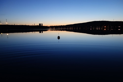 blue sunset lake water evening hills serene bluehour waterscape