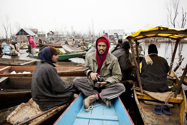 Kashmir 2012 | The Photographer at Vegetable Floating Market | Dal Lake Kashmir
