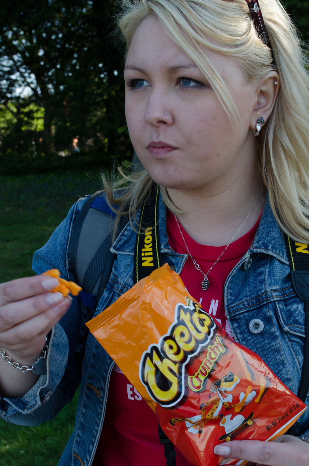 Theresa eating Cheetos in DC
