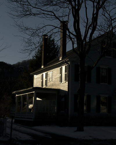 new winter light sunset shadow chimney england urban house reflection building architecture rural america greek town vermont afternoon village small victorian center tourist commercial elite porch wealthy expensive woodstock quaint picturesque trap vt photogenic revival upscale