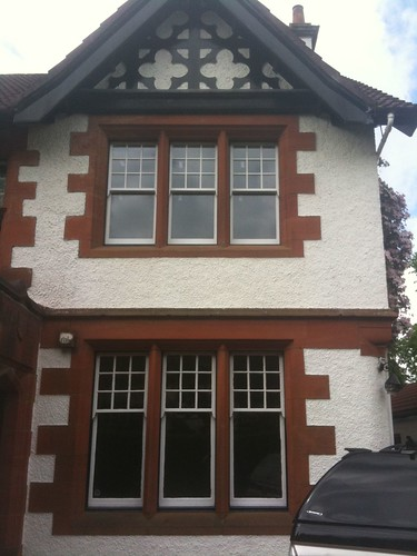 Installing replacement double glazed sash windows while retaining and replicating original features such as astragals and decorative horns on the top sashes | by williefogg