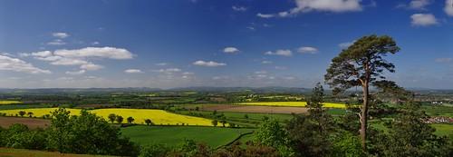 panorama green yellow shropshire view vista fields crops haughmondhill