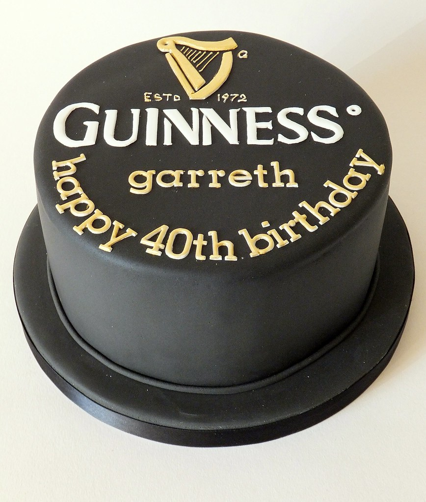 Awesome A Guinness Themed Cake For A 40Th Birthday A Madagascan Va Flickr Birthday Cards Printable Benkemecafe Filternl