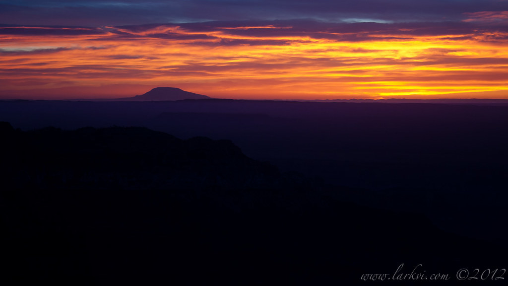 Sunrise from Imperial Point (variant b), Grand Canyon National Park, 2006 by larkvi
