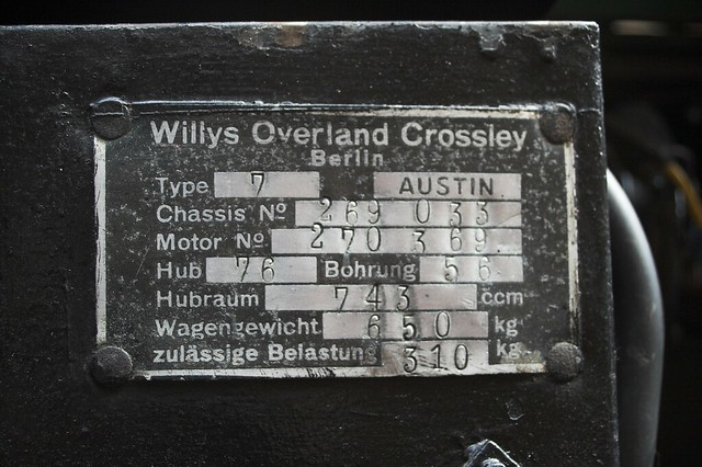 Willys  Overland Crossley Plate on 1937 Pearl