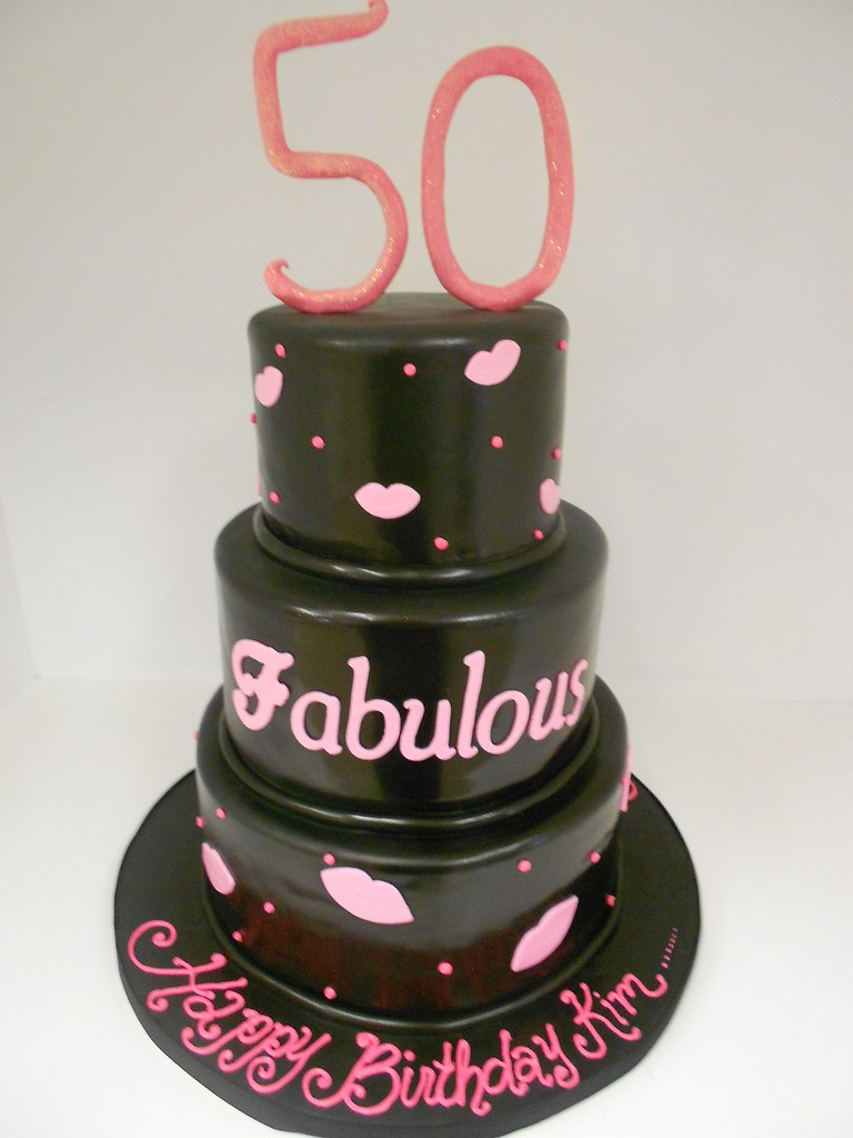 Groovy 50 And Fabulous Birthday Cake 999 Black And Pink Cake Wi Flickr Funny Birthday Cards Online Alyptdamsfinfo