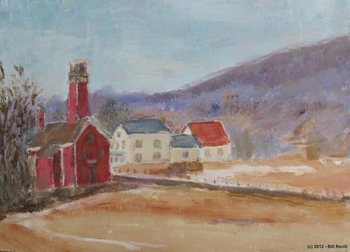art rural painting landscape vermont country rustic chester firehouse vt revill billrevill
