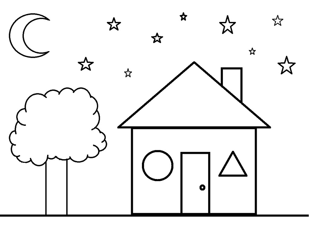 - Shapes Coloring Sheet- House Clermont County Public Library Flickr