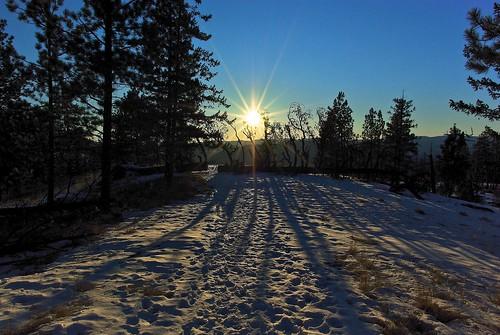winter sunset sun snow canada tree ice landscape star rocks pentax snowy britishcolumbia okanagan local icy penticton k10d elliscanyon upcarmi smcpentaxda15mmf4edallimited nigeldawson jasbond007 copyrightnigeldawson2012
